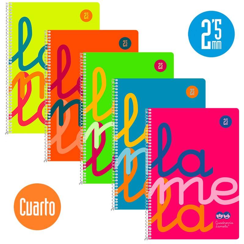 Cuaderno Espiral Cuarto 80 Hojas, 90 Grs. Cubierta Polipropileno Flúor. SURTIDO. Cuadrovía 2,5mm.
