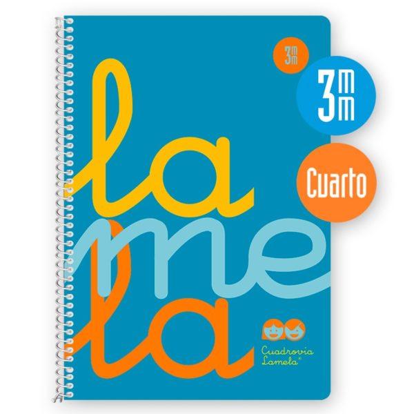 Cuaderno espiral cuarto 80 hojas, 90 grs. Cubierta polipropileno flúor. AZUL . Cuadrovía 3mm.