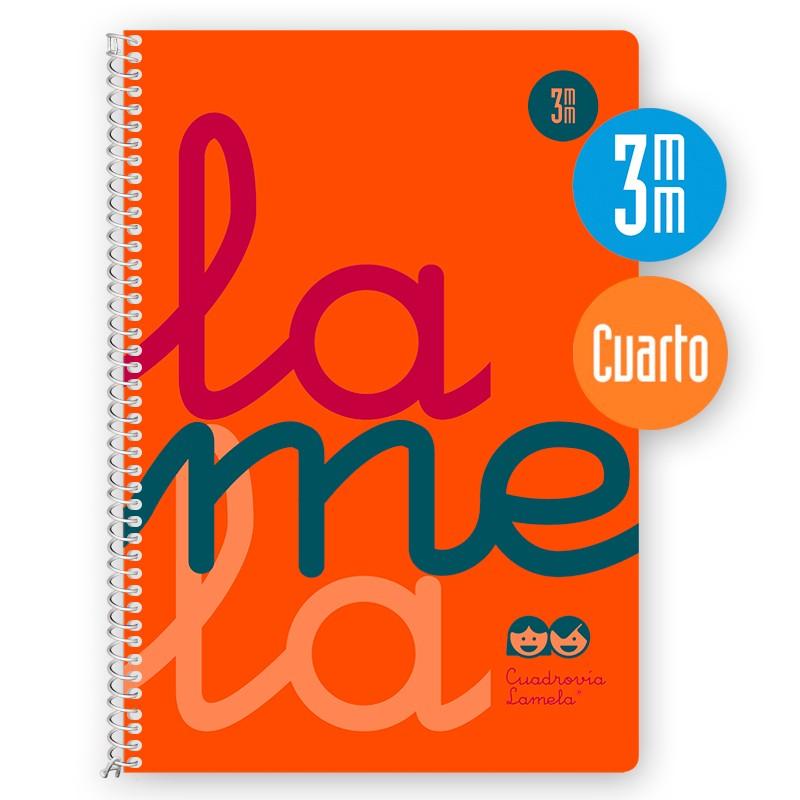 Cuaderno Espiral Cuarto 80 Hojas, 90 Grs. Cubierta Polipropileno Flúor. NARANJA. Cuadrovía 3mm.