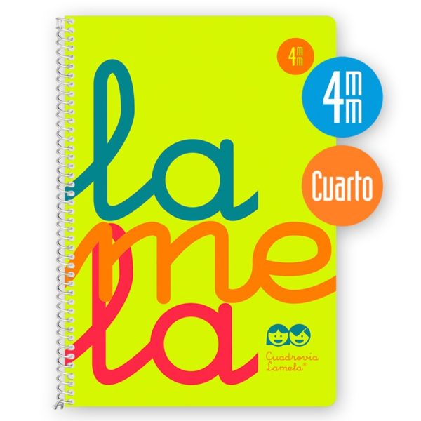 Cuaderno espiral cuarto 80 hojas, 90 grs. Cubierta polipropileno flúor. AMARILLO. Cuadrovía 4mm.