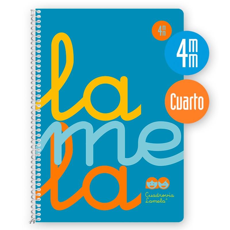 Cuaderno Espiral Cuarto 80 Hojas, 90 Grs. Cubierta Polipropileno Flúor. AZUL.   Cuadrovía 4mm.