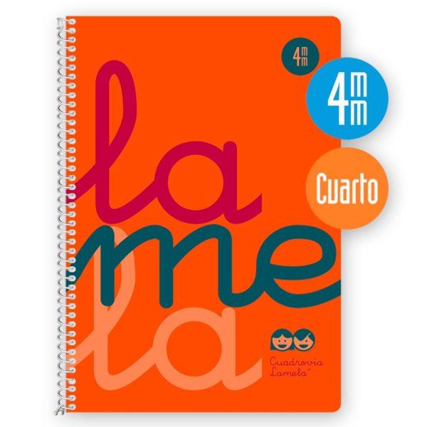 Cuaderno espiral cuarto 80 hojas, 90 grs. Cubierta polipropileno flúor. NARANJA. Cuadrovía 4mm.