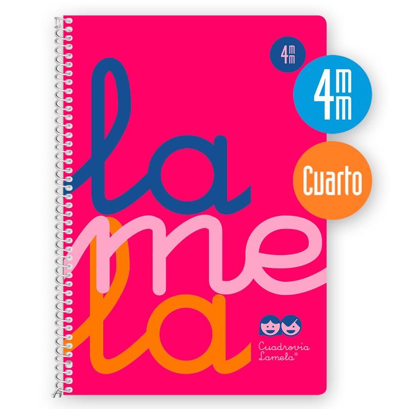Cuaderno Espiral Cuarto 80 Hojas, 90 Grs. Cubierta Polipropileno Flúor. ROSA.   Cuadrovía 4mm.