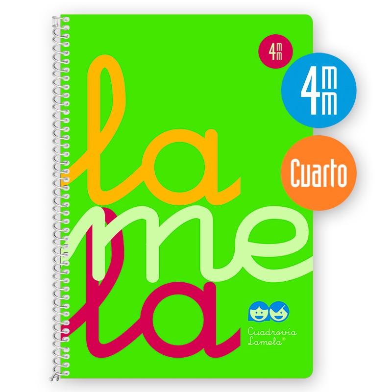 Cuaderno Espiral Cuarto 80 Hojas, 90 Grs. Cubierta Polipropileno Flúor. VERDE. Cuadrovía 4mm.