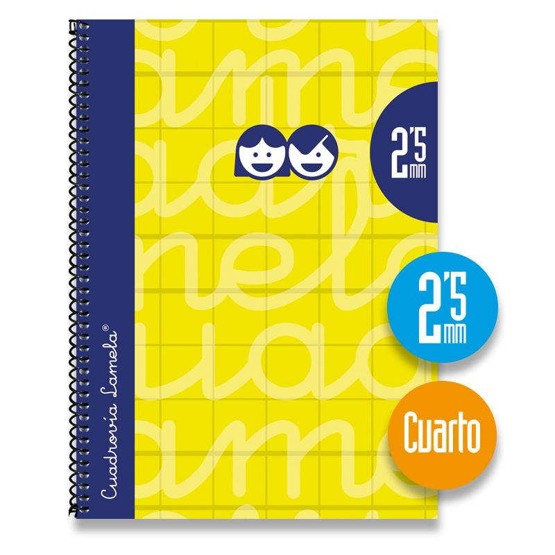 Cuaderno Espiral Cuarto 80 Hojas. Cubierta Extra Dura AMARILLO . Cuadrovía 2,5mm.
