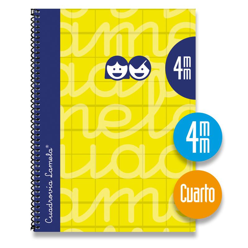 Cuaderno Espiral Cuarto 80 Hojas. Cubierta Extra Dura AMARILLO . Cuadrovía 4mm.
