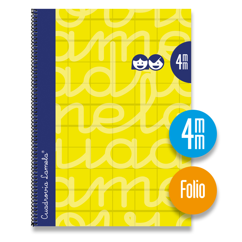 Cuaderno Espiral FOLIO 80 Hojas. Cubierta Extra Dura AMARILLO . Cuadrovía 4mm.