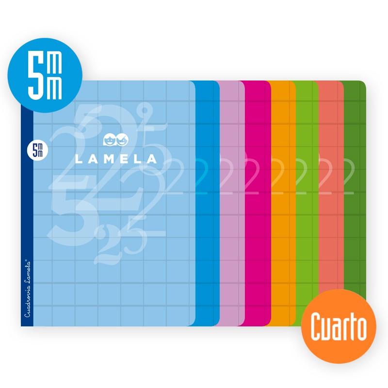 Libreta Grapa Cuarto 50 Hojas. Cubierta Cartoncillo Plastificado.SURTIDO.Cuadrovía 5mm.